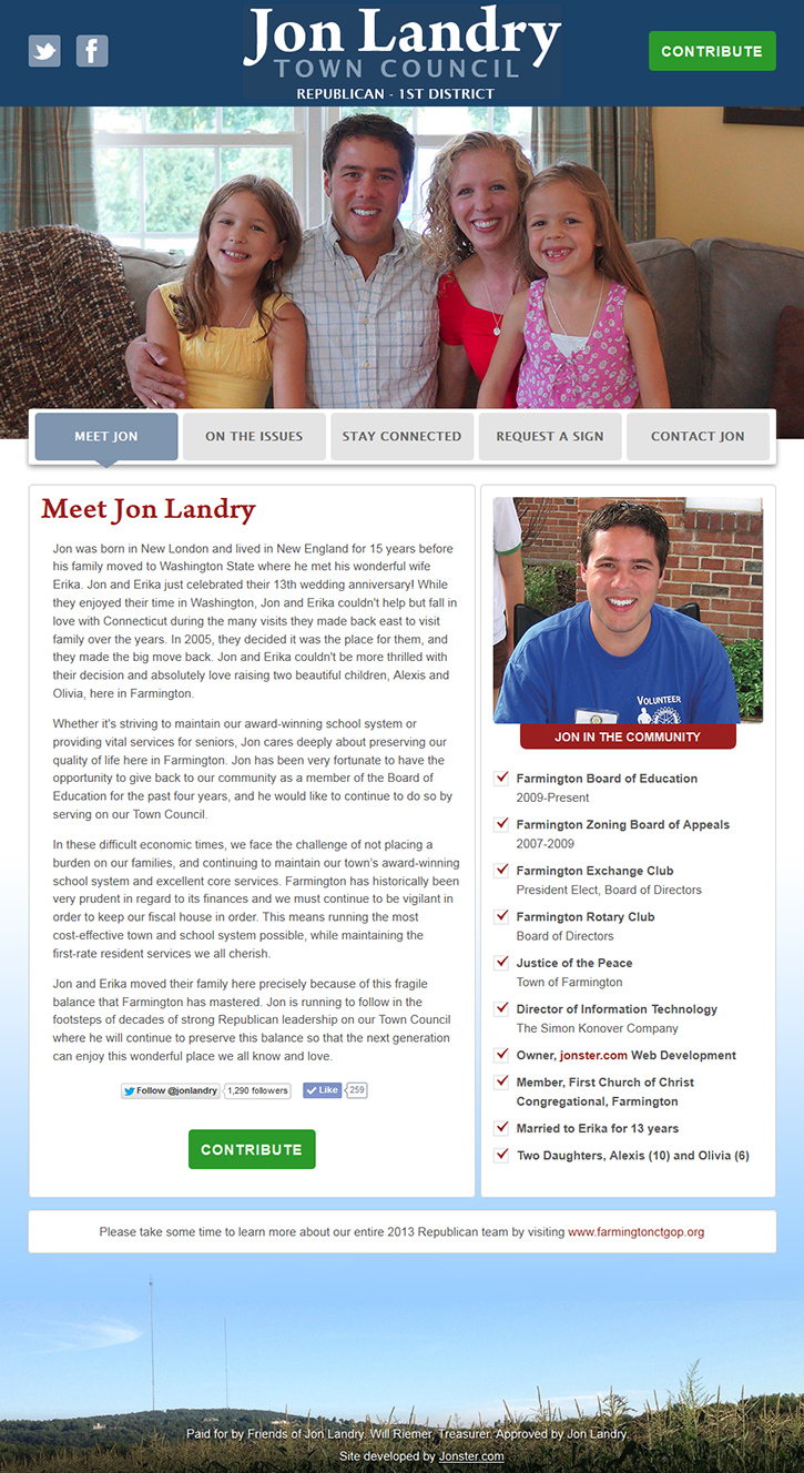 The Elect Jon Landry for Town Council homepage